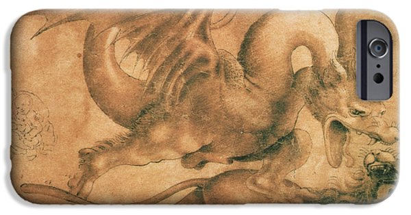 Wild Animals iPhone Cases - Fight between a Dragon and a Lion iPhone Case by Leonardo da Vinci
