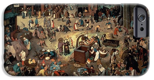 Caricatures iPhone Cases - Fight Between Carnival And Lent, 1559 Oil On Oak Panel iPhone Case by Pieter the Elder Bruegel