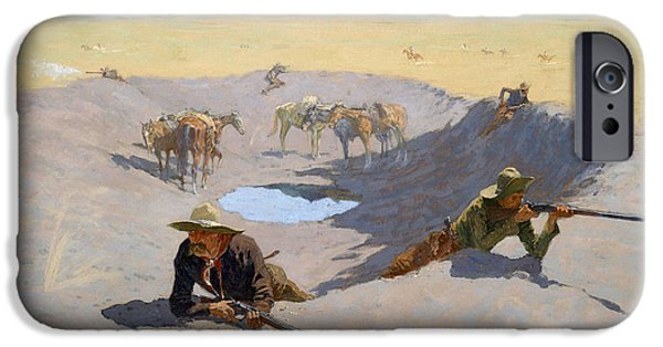 Frederic Remington iPhone Cases - Fight for the Waterhole iPhone Case by Frederic Remington