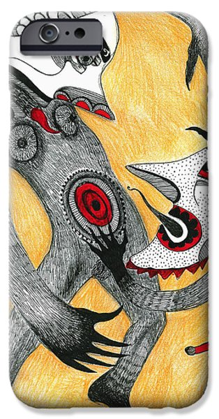 Contemporary Art Drawings iPhone Cases - Fight iPhone Case by Sabina Nedelcheva-Williams