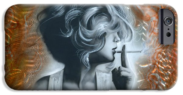 Airbrush Mixed Media iPhone Cases - Woman iPhone Case by Luis  Navarro