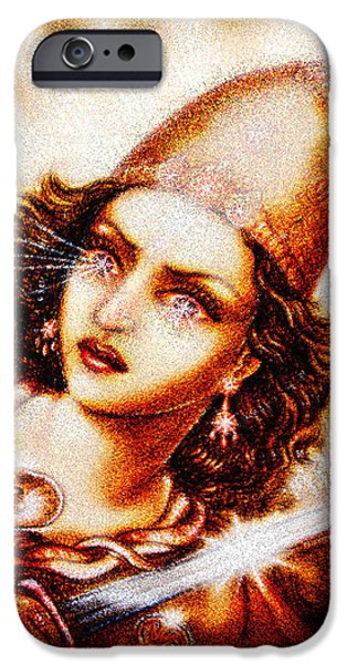 Hindu Goddess Mixed Media iPhone Cases - Fighting Goddess 2 iPhone Case by Ananda Vdovic