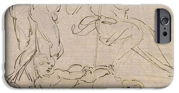 Christ Drawings iPhone Cases - Figural Study for the Adoration of the Magi iPhone Case by Leonardo Da Vinci