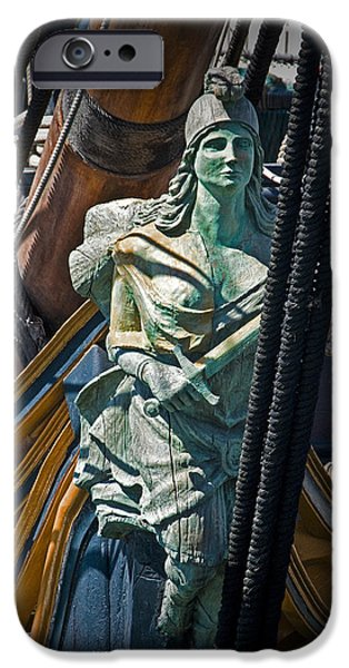 Pirate Ship iPhone Cases - Figurehead on the bow of the Sailing Ship The Star of India iPhone Case by Randall Nyhof