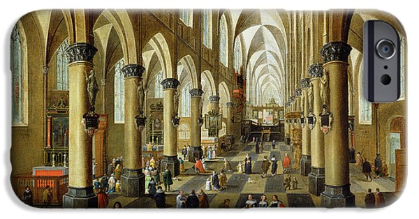 Gothic iPhone Cases - Figures Gathered In A Church Interior, 17th Century iPhone Case by Pieter the Younger Neeffs
