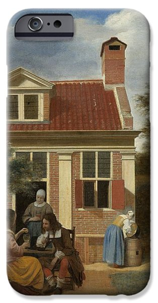 Domestic Scene iPhone Cases - Figures in a Courtyard behind a House iPhone Case by Pieter de Hooch