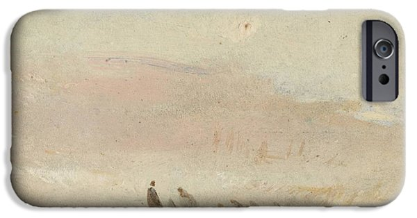Painter Drawings iPhone Cases - Figures on a beach study 1845 iPhone Case by Joseph Mallord William Turner