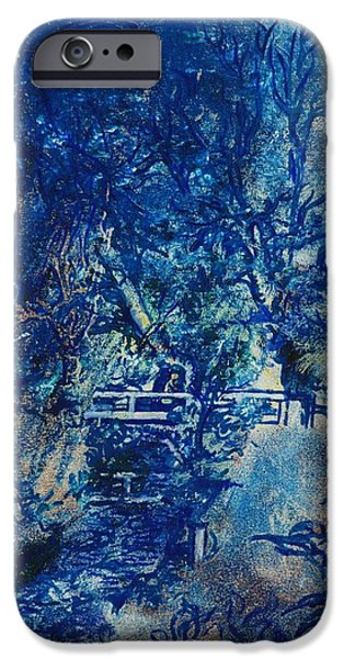 Figure iPhone Cases - Figures On A Bridge Oil On Canvas iPhone Case by Brenda Brin Booker
