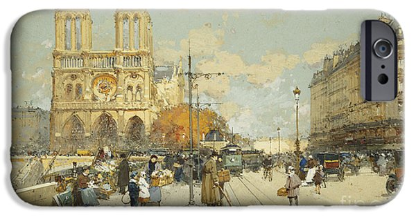 Eugene Laloue iPhone Cases - Figures on a Sunny Parisian Street Notre Dame at left iPhone Case by Eugene Galien-Laloue