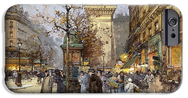 Jacques Lieven iPhone Cases - Figures on Le Boulevard St. Denis at Twilight iPhone Case by Eugene Galien-Laloue