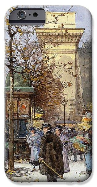 Figures on Le Boulevard St. Denis at Twilight iPhone Case by Eugene Galien-Laloue