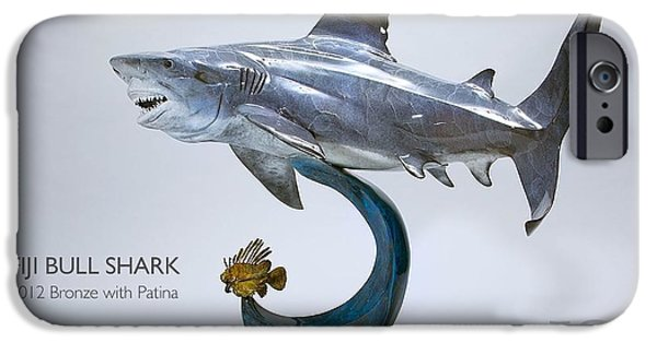 Shark Sculptures iPhone Cases - Fiji Bull Shark iPhone Case by Victor Douieb