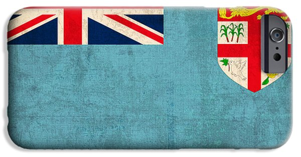 Nation iPhone Cases - Fiji Flag Vintage Distressed Finish iPhone Case by Design Turnpike
