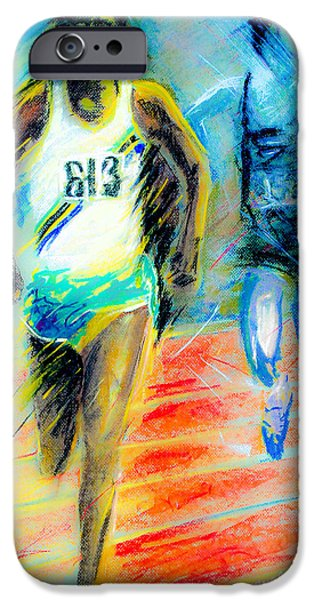 Tracks Pastels iPhone Cases - Filbert Bayi of Tanzania iPhone Case by Dariusz Janczewski