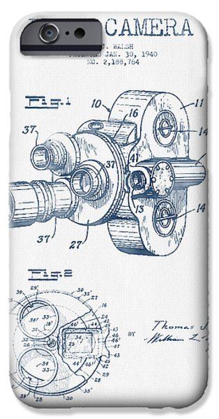 Camera iPhone Cases - Film Camera Patent Drawing from 1938 - Blue Ink iPhone Case by Aged Pixel
