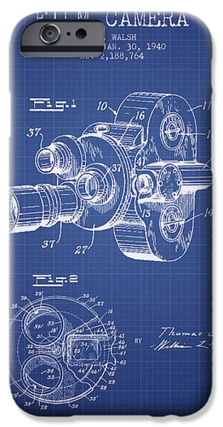 Camera iPhone Cases - Film Camera Patent From 1940 - Blueprint iPhone Case by Aged Pixel