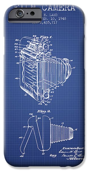 Camera iPhone Cases - Film Camera Patent From 1948 - Blueprint iPhone Case by Aged Pixel