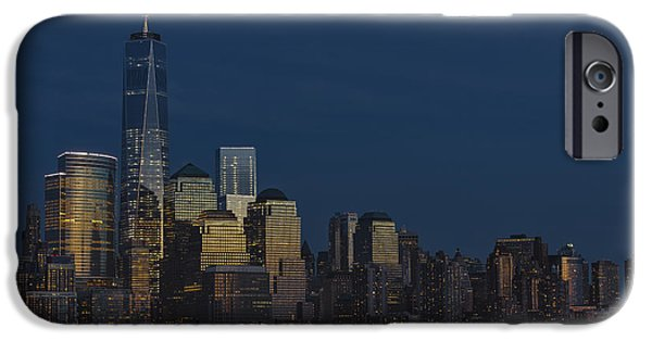City Scape iPhone Cases - Financial District In New York City At Twilight iPhone Case by Susan Candelario