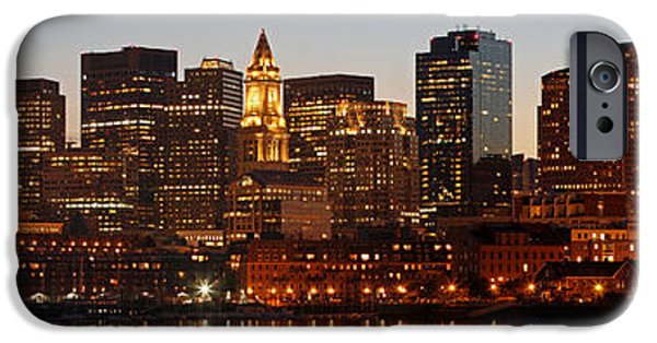 Custom House Tower iPhone Cases - Financial District of Boston Panorama iPhone Case by Juergen Roth