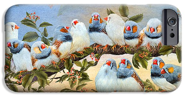 Tree Art Print Mixed Media iPhone Cases - Finch Family Tree iPhone Case by Carol Cavalaris
