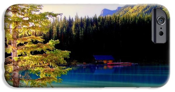 Mountain Cabin iPhone Cases - Finding Inner Peace iPhone Case by Karen Wiles