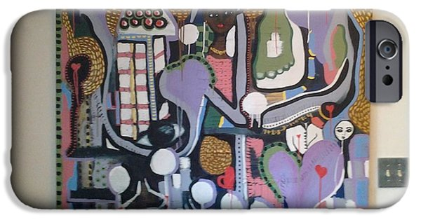 Abstracted Tapestries - Textiles iPhone Cases - Finding my way#2 iPhone Case by Denise D Cooper