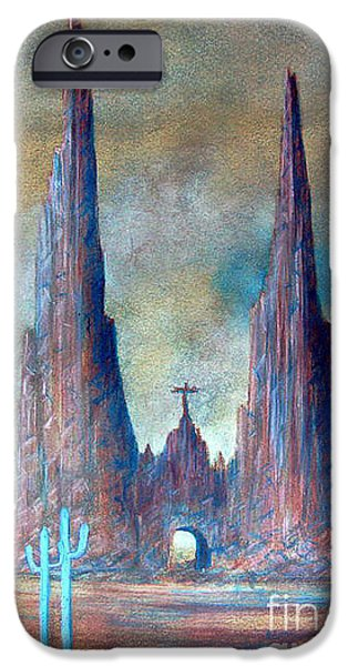 Cathedral Rock Pastels iPhone Cases - Fine Art Printing Santa Fe NM iPhone Case by Alberto Thirion