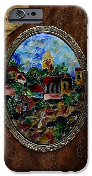 Landscapes Glass iPhone Cases - Fine Cloisonne Enamel Miniature paysage iPhone Case by Nino Berdzenishvili