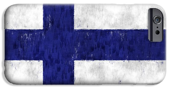 Finland iPhone Cases - Finland Flag iPhone Case by World Art Prints And Designs