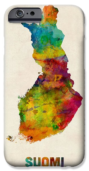 Finland iPhone Cases - Finland Watercolor Map Suomi iPhone Case by Michael Tompsett
