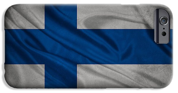 Waving Flag Mixed Media iPhone Cases - Finnish flag waving on canvas iPhone Case by Eti Reid