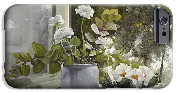 White Flowers Paintings iPhone Cases - Fiori Bianchi Alla Finestra iPhone Case by Danka Weitzen