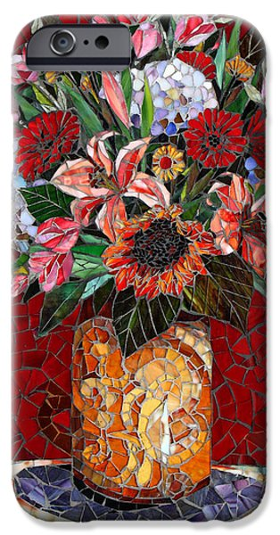 Florals Glass Art iPhone Cases - Fiori iPhone Case by Sandra Bryant