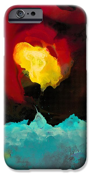 Abstract Digital Paintings iPhone Cases - Fire and Ice iPhone Case by Craig Tinder