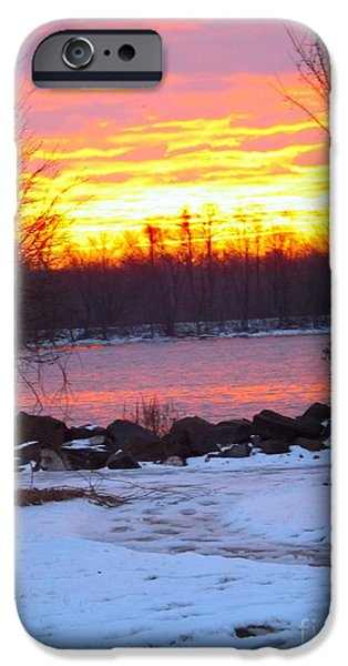 Snow iPhone Cases - Fire and Ice Sunrise on the Delaware River iPhone Case by Robyn King