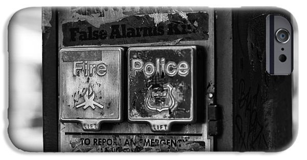 Police Art iPhone Cases - Fire and Police Pull Box mono iPhone Case by John Rizzuto