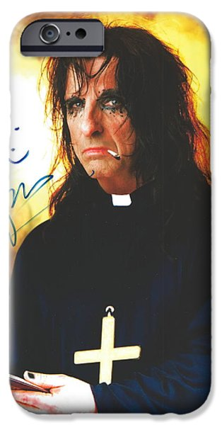 Recently Sold -  - Autographed iPhone Cases - Fire and Smoke Priest Alice Cooper Original Signature on Glossy Photo iPhone Case by Desiderata Gallery