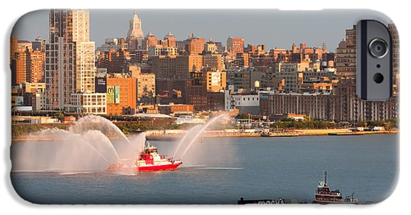 4th Of July iPhone Cases - Fire Boat and Manhattan Skyline V iPhone Case by Clarence Holmes