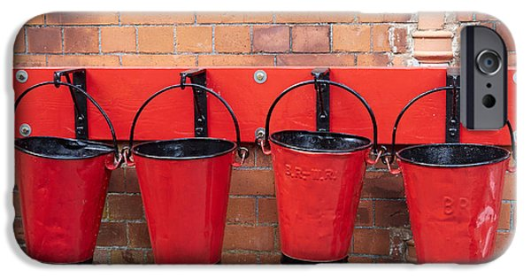 Wark iPhone Cases - Fire buckets at Toddington Railway Station iPhone Case by Louise Heusinkveld