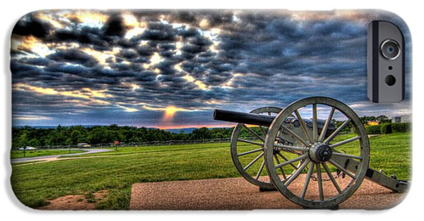 Lincoln iPhone Cases - Fire Clouds Over a Gettysburg Cannon iPhone Case by Andres Leon