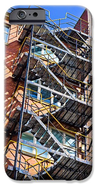 Downtown Stairs iPhone Cases - Fire escape iPhone Case by Tom Gowanlock