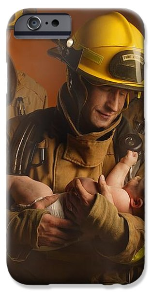 Fire Fighters Rescuing A Baby iPhone Case by Don Hammond