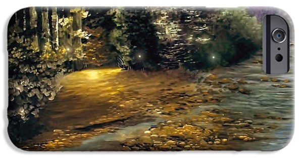 Impressionistic Landscape Paintings iPhone Cases - Fire Fly Trail iPhone Case by Melissa Herrin