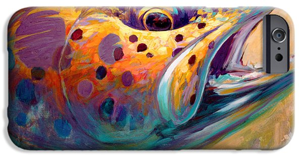 Trout Paintings iPhone Cases - Fire From Water - Rainbow Trout Contemporary Art iPhone Case by Mike Savlen