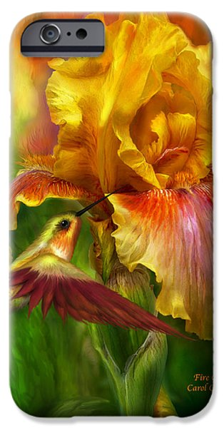 Beard iPhone Cases - Fire Goddess iPhone Case by Carol Cavalaris