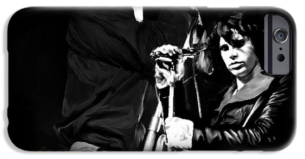Fame Drawings iPhone Cases - Fire In A Storm  Jim Morrison iPhone Case by Iconic Images Art Gallery David Pucciarelli