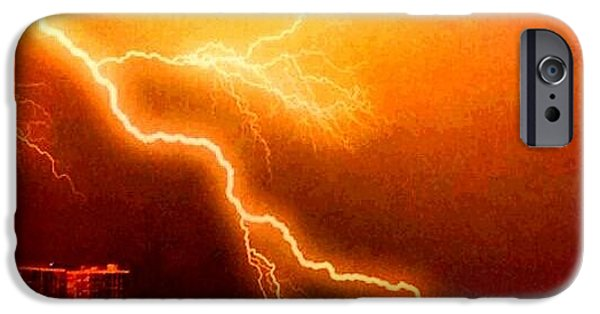 Electrical iPhone Cases - Fire In Sky iPhone Case by Carol Bono
