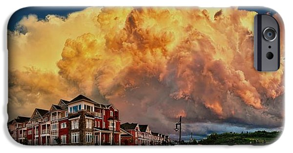 Turbulent Skies iPhone Cases - Fire in the Sky iPhone Case by Jeff S PhotoArt