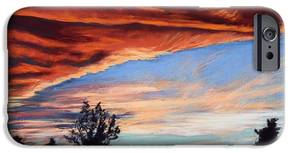 Dark Skies Pastels iPhone Cases - Fire in the Sky iPhone Case by Mary Benke