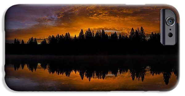 Silhoette iPhone Cases - Fire In The Sky iPhone Case by Nancy Marie Ricketts